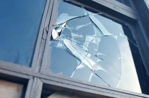 broken window from a victim of burglary